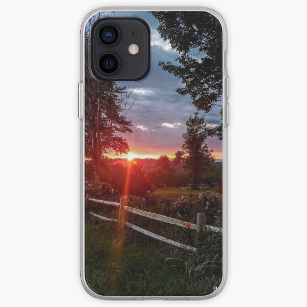 Summer sunset with fence and flowers iPhone Soft Case