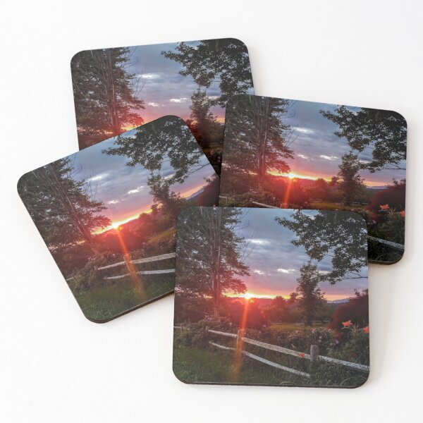 Summer sunset with fence and flowers Coasters (Set of 4)