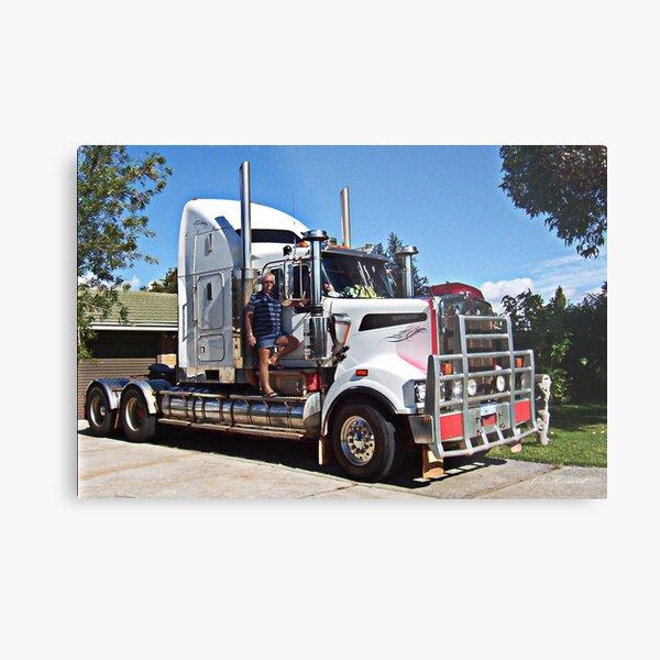 Truckie with his Kenworth T904 Metal Print