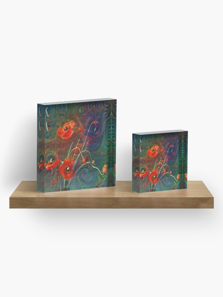 Alternate view of Poppies Acrylic Block