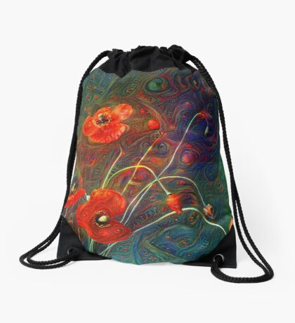 Poppies Drawstring Bag
