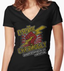 Chernobly Energy Drink Women's Fitted V-Neck T-Shirt