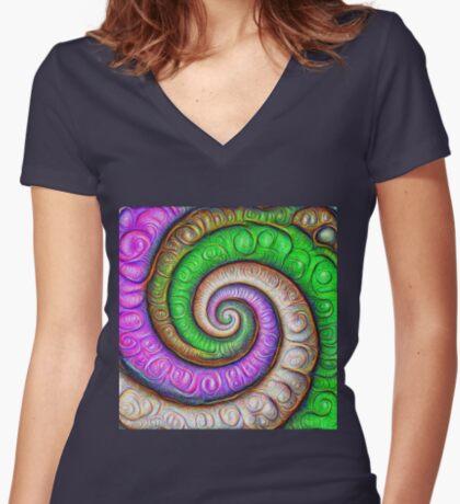 Fibonacci spiral #DeepDream #Art Fitted V-Neck T-Shirt