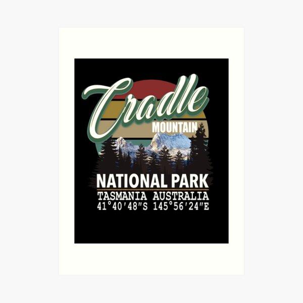 Cradle Mountain National Park with GPS Location Tasmania Australia Art Print