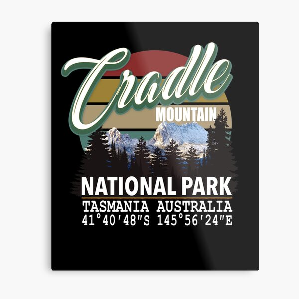 Cradle Mountain National Park with GPS Location Tasmania Australia Metal Print
