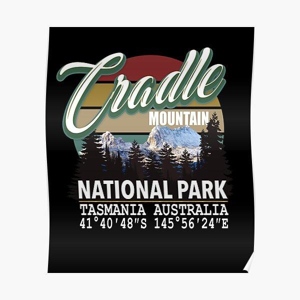 Cradle Mountain National Park with GPS Location Tasmania Australia Poster
