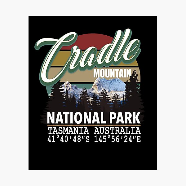 Cradle Mountain National Park with GPS Location Tasmania Australia Photographic Print