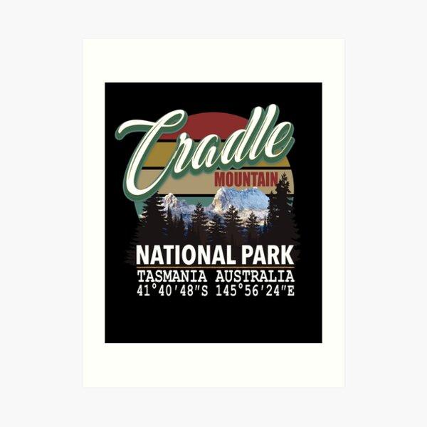 Vintage Cradle Mountain National Park with GPS Location Tasmania Australia Art Print