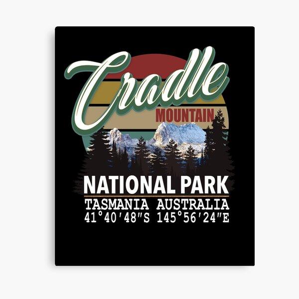 Vintage Cradle Mountain National Park with GPS Location Tasmania Australia Canvas Print