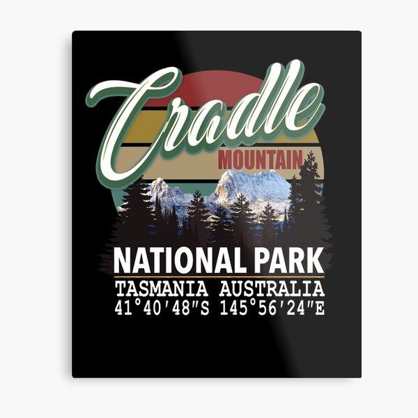 Vintage Cradle Mountain National Park with GPS Location Tasmania Australia Metal Print