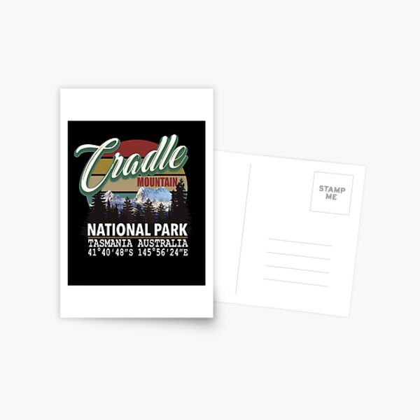 Vintage Cradle Mountain National Park with GPS Location Tasmania Australia Postcard