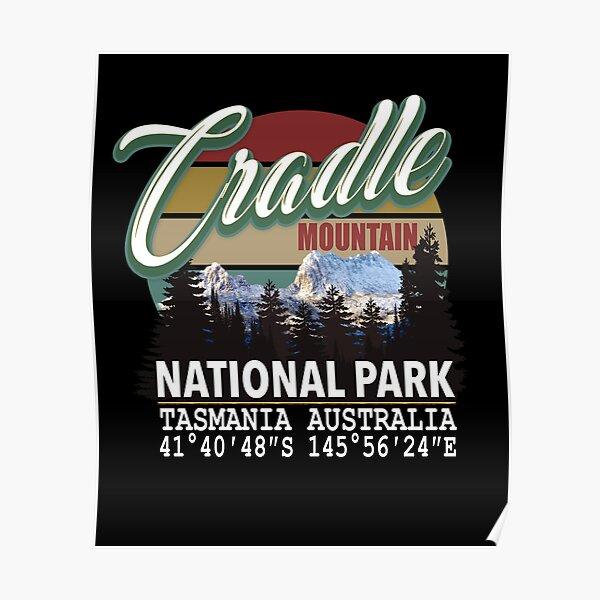 Vintage Cradle Mountain National Park with GPS Location Tasmania Australia Poster