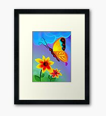 Attraction of the butterfly towards the beauty of the flowers Framed Print