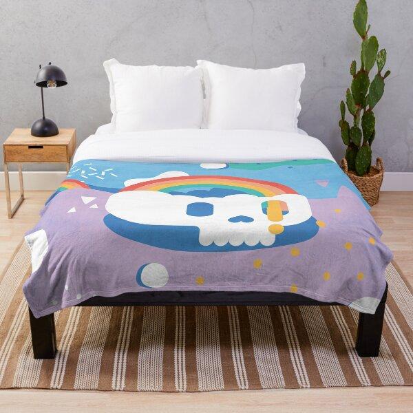Rainbow Skull Abstract Throw Blanket