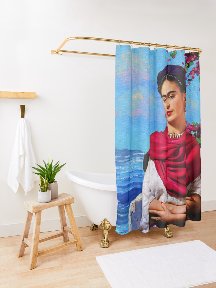 Alternate view of Frida Kahlo and sea ⛔ HQ-quality Shower Curtain