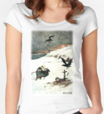 THEY PASSED OVER THE BOUNDLESS WHITE PLAIN WHERE AN AGED SAINT WITH FLOWING BEARD STOOD from the story THE STORY OF KASYAN AND THE DREAM MAIDEN Fitted Scoop T-Shirt