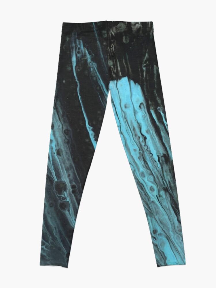 Alternate view of Fluid painting black-turquoise Leggings