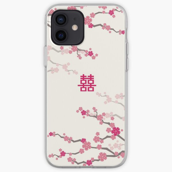 Fuchsia Pink Oriental Cherry Blossoms on Cream and Chinese Wedding Double Happiness | Japanese Sakura  iPhone Soft Case