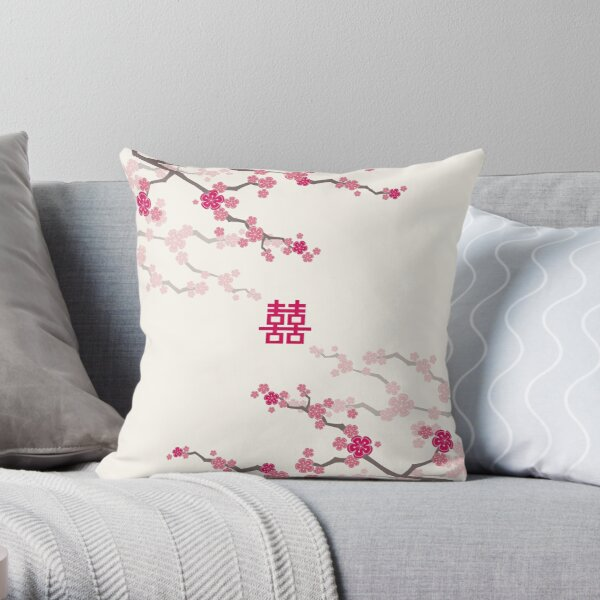 Fuchsia Pink Oriental Cherry Blossoms on Cream and Chinese Wedding Double Happiness | Japanese Sakura  Throw Pillow