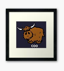 Heilan' Coo – white text Framed Print