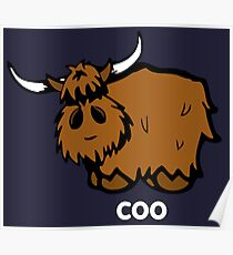 Heilan' Coo – white text Poster