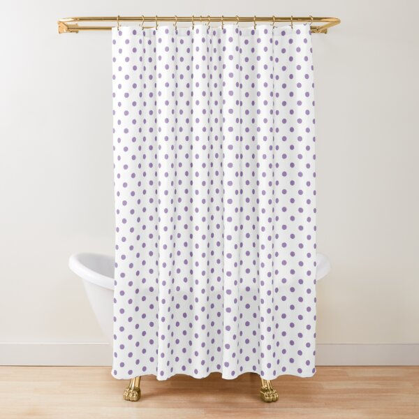 Modern geometric violet lavender white polka dots pattern Shower Curtain