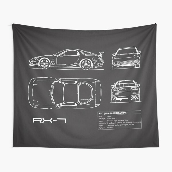RX-7 Blueprint Tapestry