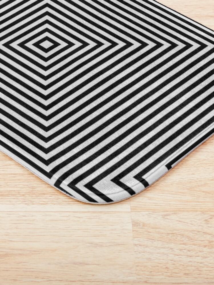 Alternate view of #Illustration, #design, #simplicity, #pattern, art, bamboo, square, abstract, black and white, monochrome, maze, geometric shape Bath Mat