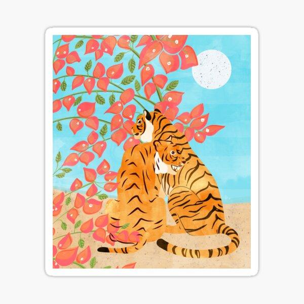 Tiger Honeymoon #illustration #painting #wildlife Sticker