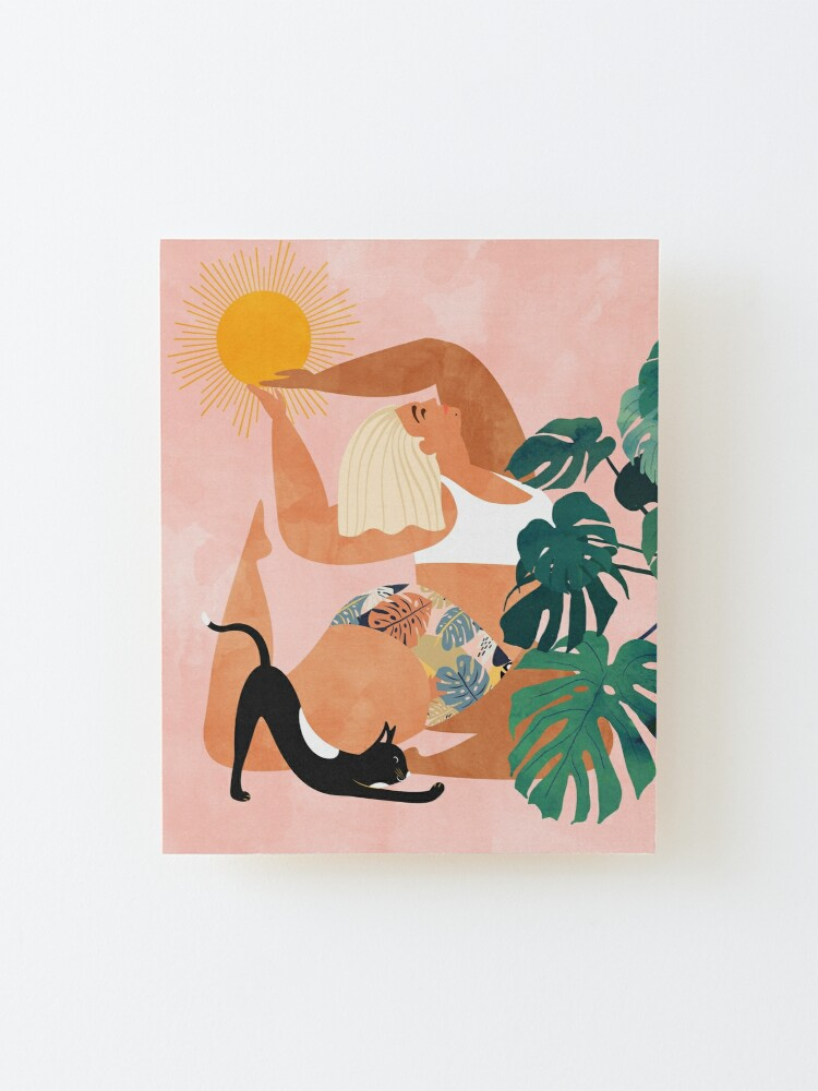 Alternate view of Tropical Yoga #illustration #tropical  Mounted Print