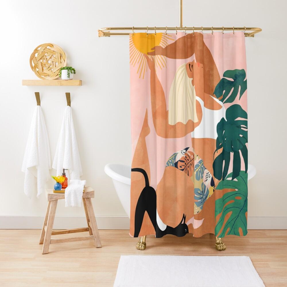 Tropical Yoga #illustration #tropical  Shower Curtain