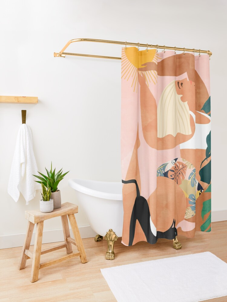 Alternate view of Tropical Yoga #illustration #tropical  Shower Curtain