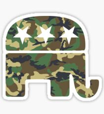 Camouflage Republican Elephant Sticker