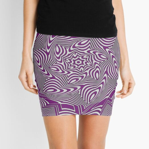 #Psychedelic #Hypnotic #Pattern, Visual #Illusion, Optical Art  Mini Skirt