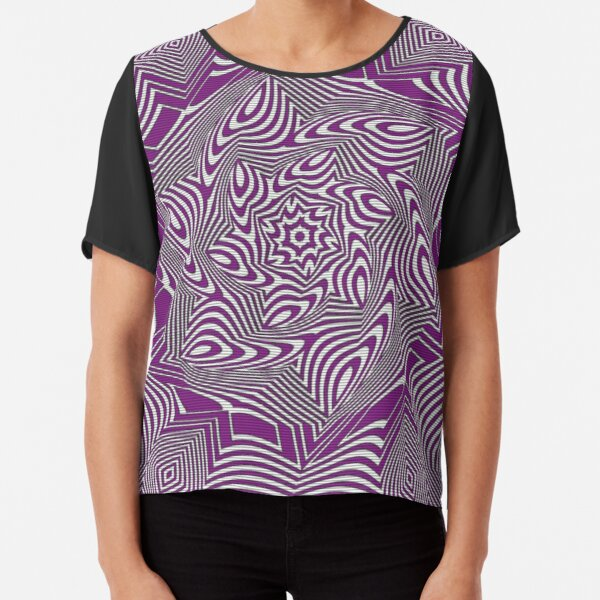 #Psychedelic #Hypnotic #Pattern, Visual #Illusion, Optical Art  Chiffon Top