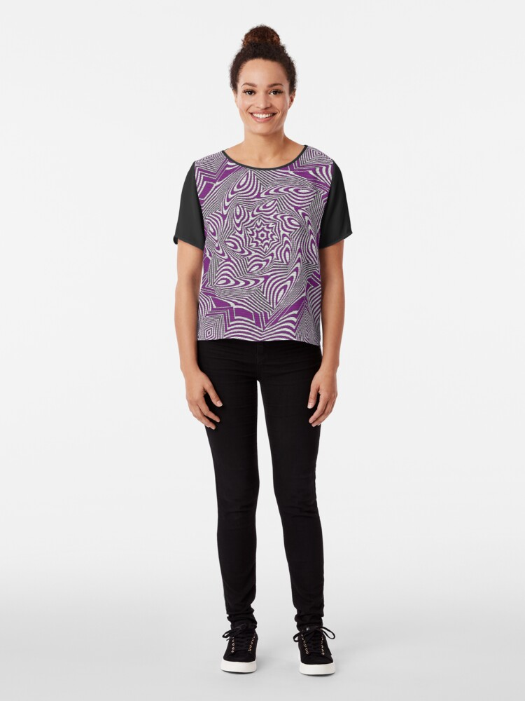 Alternate view of #Psychedelic #Hypnotic #Pattern, Visual #Illusion, Optical Art  Chiffon Top