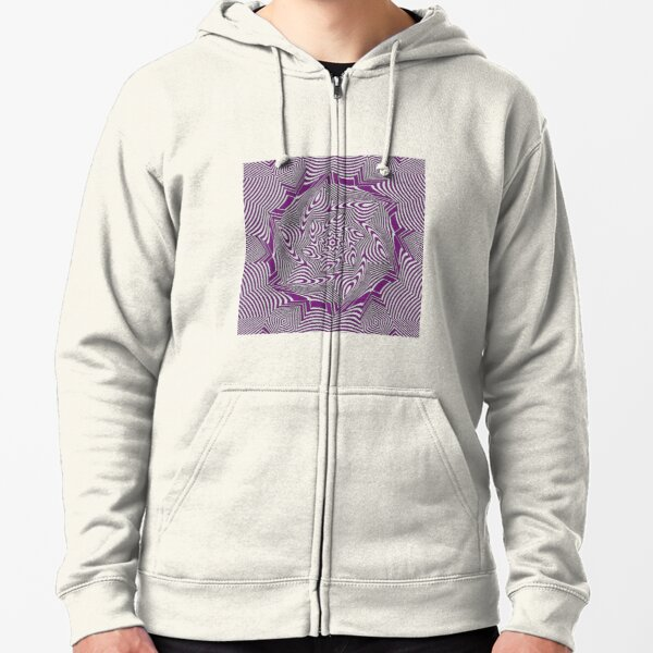 #Psychedelic #Hypnotic #Pattern, Visual #Illusion, Optical Art  Zipped Hoodie