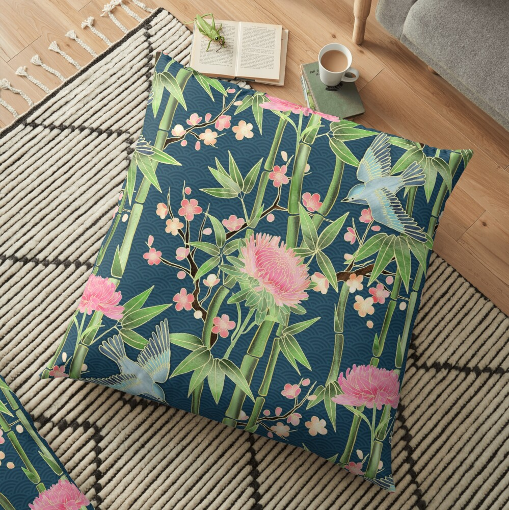 Bamboo, Birds and Blossom - dark teal Floor Pillow