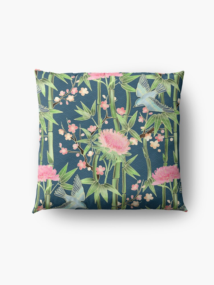 Alternate view of Bamboo, Birds and Blossom - dark teal Floor Pillow