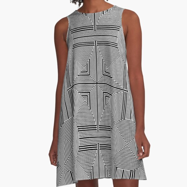 #Psychedelic #Hypnotic #Pattern, Visual #Illusion, Optical Art  A-Line Dress