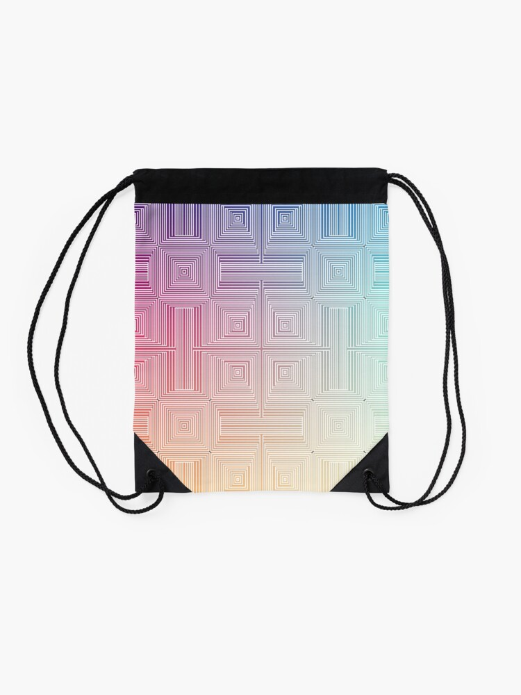 Alternate view of #Psychedelic #Hypnotic #Pattern, Visual #Illusion, Optical Art  Drawstring Bag