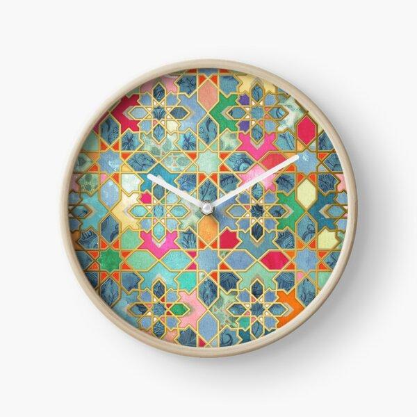 Gilt & Glory - Colorful Moroccan Mosaic Clock