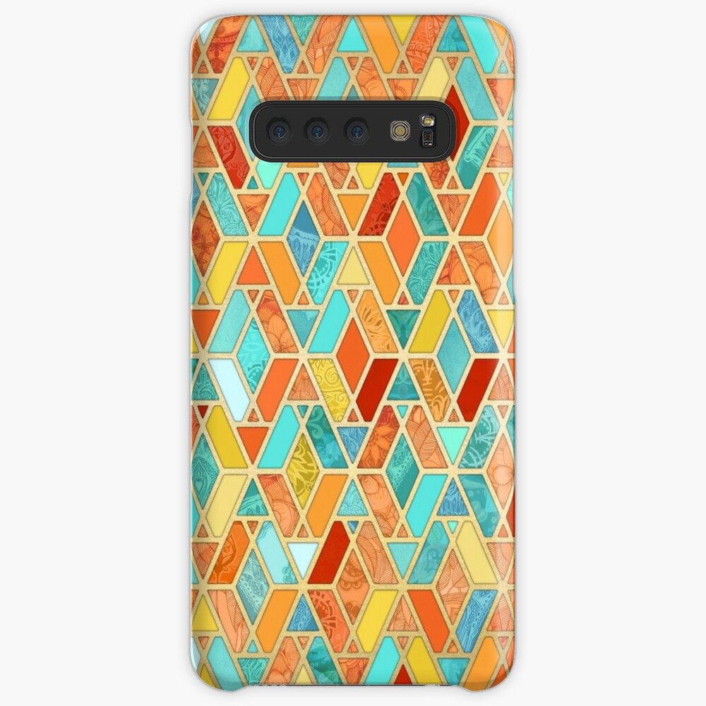Tangerine & Turquoise Geometric Tile Pattern Case & Skin for Samsung Galaxy