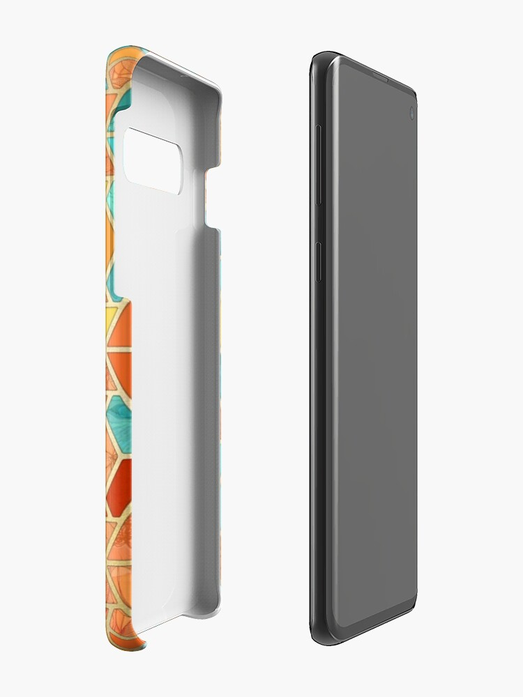 Alternate view of Tangerine & Turquoise Geometric Tile Pattern Case & Skin for Samsung Galaxy