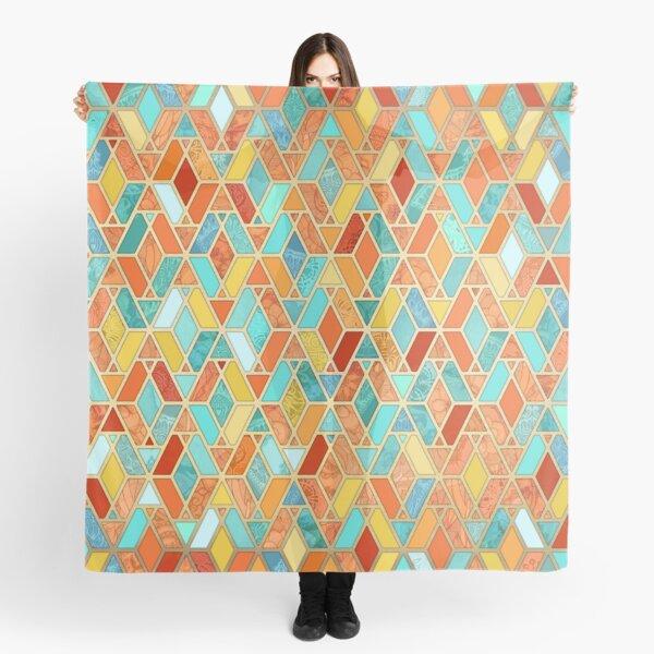 Tangerine & Turquoise Geometric Tile Pattern Scarf