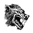 Mythical wolf head.Comics balck and white. by starchim01