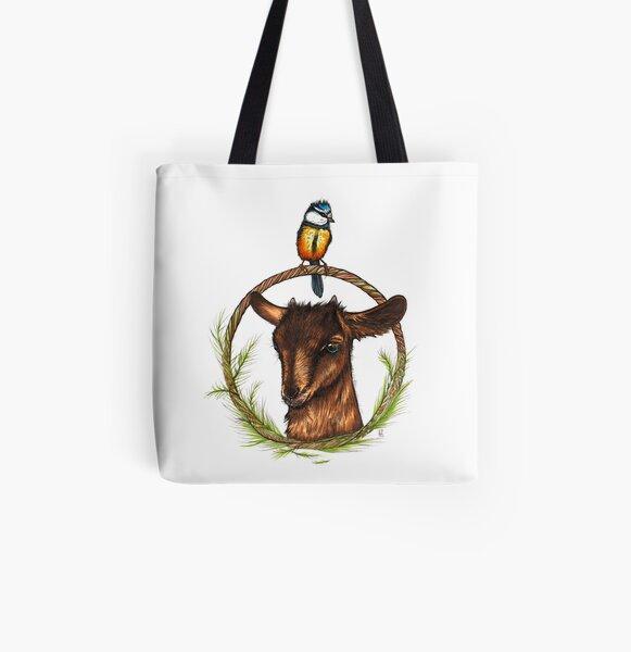 Kleine Ziege mit junger Meise Allover-Print Tote Bag
