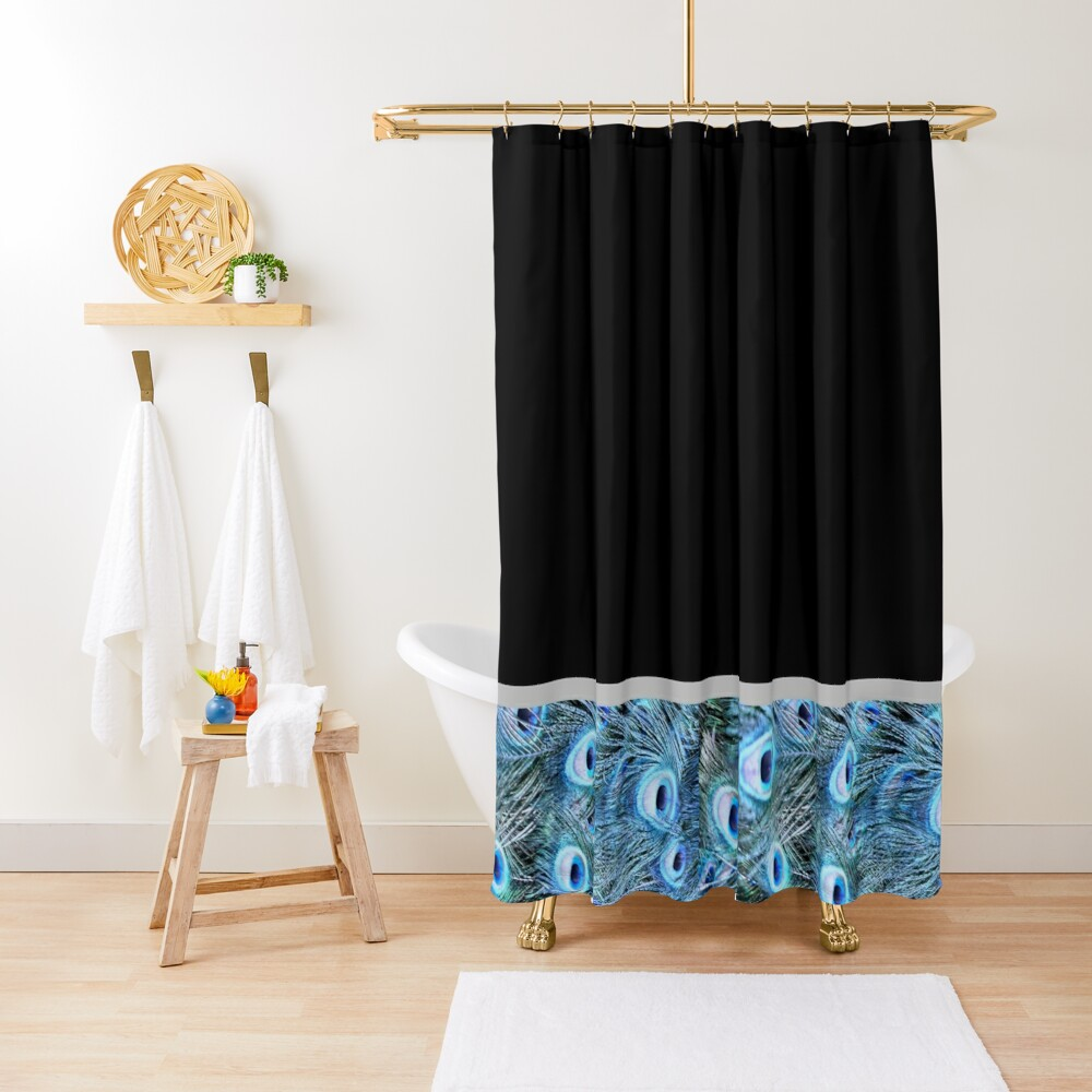 Peacock border Shower Curtain