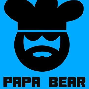 Papa bear chef cook for men geek funny nerd by katabudi