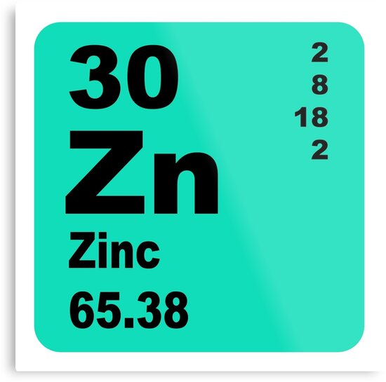Zinc Periodic Table Of Elements Metal Prints By Walterericsy